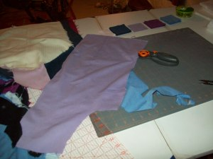 As I cut out the pieces it dawned on me. Most of my work clothes were polyester or polyester blends just like grandma's