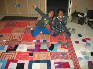 Jadin (9) and Rylen (4) came over and helped layout the Working Woman's Quilt