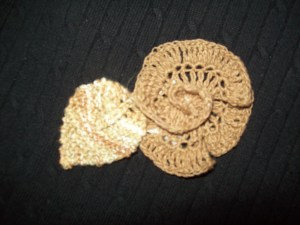 crocheted rose from 1st cotton boll