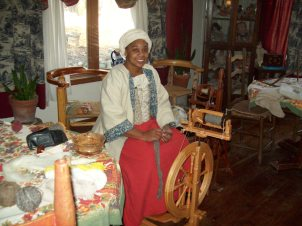 I dressed up in 18th century costume and did a spinning demonstration for local homeschoolers