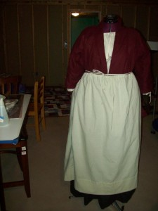 My first 18th century costume. Wool petticoat and bed jacket  with muslin apron and chemise.