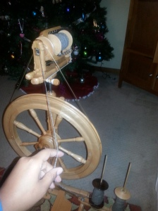 I have just about finished spinning natural colored rambouillet yarn for a new fichu.