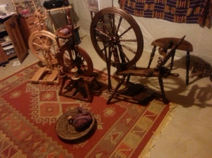 My spinning wheel collection, Kromki Sonata and Symphony, Jensen Tina II, and Ashford Traveller (not pictured)