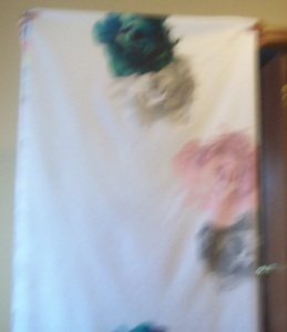 (Sorry picture out-of-focus) This fabric has lots of blank space.