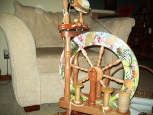 Spinning  Cotton on my Ashford Traveller Wheel