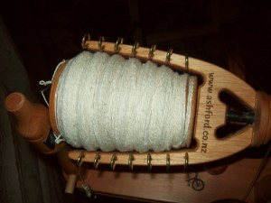 Bobbin full of white cotton yarn
