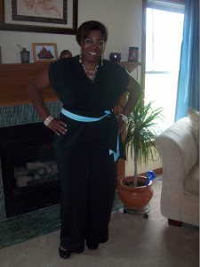 Ms. Neisha modeling her new birthday suit, McCall's 6083 View E