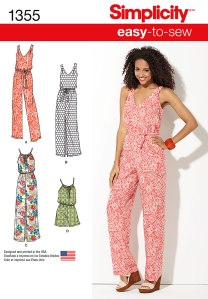 Simplicity 1355 has easy to sew jumpsuits and maxi dresses