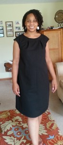 My new Little Black dress Simplicity 2455 with neckline pleats.