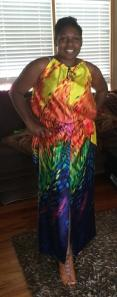 My sister decided to try it on too. She is about 5 inches shorter than me so she had to blouse it up more at the waist.