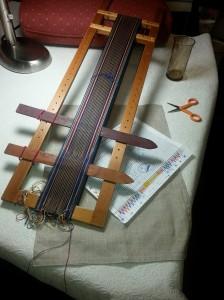 Frame loom ready to weave