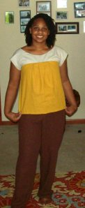 Yellow top. I used the box pleated side. (Pattern calls for tucks)