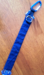 Send-off Sash. I added a blue linen backing to make it more durable and a hook for utility