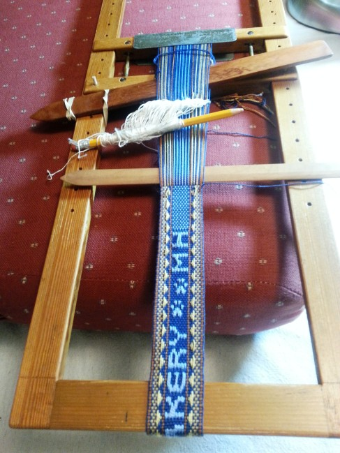 The send-off sash on the loom. Almost finished