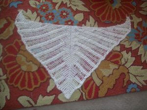 Dragonfly shawl variation of Lis Naskrent pattern (not blocked) natural cotton color