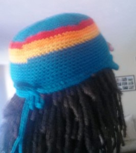 My version of the hat called MC from the Book Get your Crochet On! with drawstring in the back.