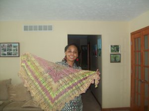 the shawl is pretty large. The color patterns is a surprise when using hand painted rovings
