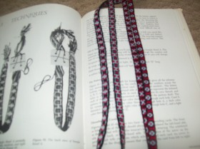old sample and new sample side-by-side with the pattern from Card Weaving by Candace Crockett