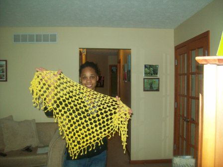 Crochet shawl made from hanspun cotton dyed with tumeric. The pattern is Moondrop by Lori Carlson published in Interweave crochet Winter 2016