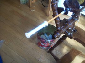My rigged up bobbin winder. A pencil jammed into my spinning wheel orifice