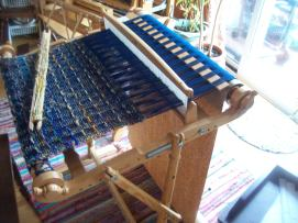 rigid heddle weaving with simple pickup stick pattern. Cotton warp with sari silk weft
