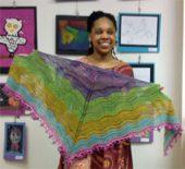 handspun knitted lace shawl