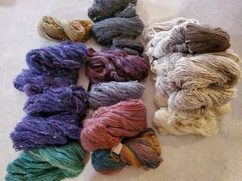 newly spun yarn freshly washed